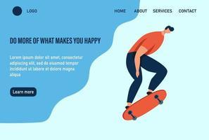 um jovem ou adolescente anda de skate. faça mais o que te faz feliz. modelo de página da web de destino da página inicial do site. ilustração vetorial plana.