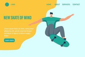 um jovem ou adolescente anda de skate. novo skate da mente. modelo de página da web de destino da página inicial do site. ilustração vetorial plana.