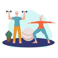 um casal de idosos faz exercícios em casa. o conceito de velhice ativa, esportes e ioga.