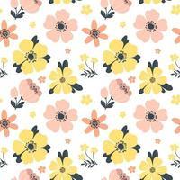 padrão de primavera sem costura com flores. ilustração vetorial