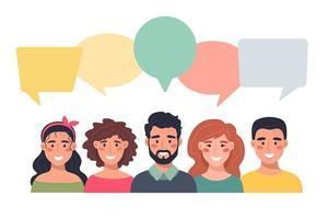 avatares de pessoas com balões de fala. comunicação de homens e mulheres, ilustração falando. equipe, conferência, trabalho, feedback. ilustração vetorial em estilo simples. vetor
