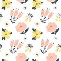 padrão de primavera sem costura com flores. ilustração vetorial.