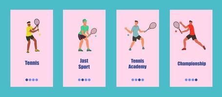 modelo de aplicativo móvel de tênis. os jovens jogam tênis. conceito de escola, competição ou campeonato de tênis. ilustração vetorial plana. vetor