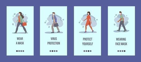 as pessoas usam máscaras de modelo de aplicativo móvel. conceito de controle de epidemia, poluição do ar, covid-19. ilustração vetorial plana. vetor