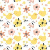 padrão de primavera sem costura com flores e pássaros bonitos. ilustração vetorial em estilo simples.