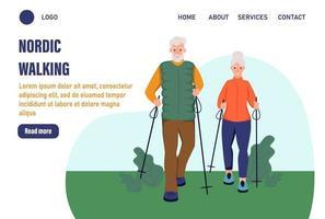 modelos de página de destino de felicidade de caminhada nórdica. casal de idosos caminhando no parque. o conceito de velhice ativa. dia do idoso. ilustração vetorial plana