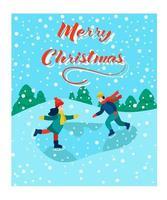 cartão de Natal. as crianças estão patinando. letras de feliz natal. ilustração vetorial. banner, pôster, modelo.