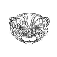 arte de doodle de lontra com garras pequenas vetor