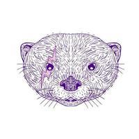 desenho do relâmpago da cabeça da lontra vetor