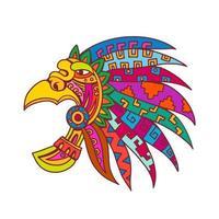 cocar asteca antigo desenho de cor
