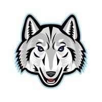design do mascote da cabeça de lobo ártico
