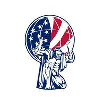 atlas carregando globo com bandeira dos EUA vetor