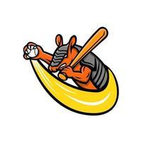 mascote jogador de beisebol tatu vetor