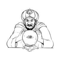 desenho da bola de cristal da cartomante