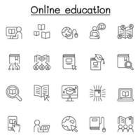 ícones de educação online definidos em estilo de linha fina