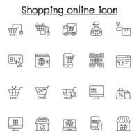 ícone de compras online em estilo de linha fina