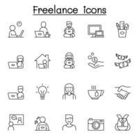 ícones freelance definidos em estilo de linha fina