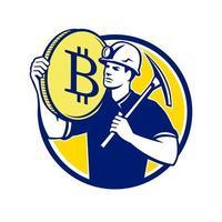 minerador criptomoeda bitcoin círculo design retro