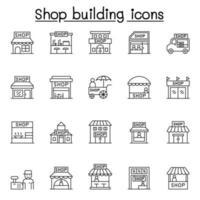 ícones de loja definidos em estilo de linha fina