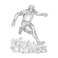 corredor de obstáculos pulando arte doodle de fogo