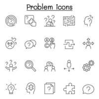 ícones de problema e pergunta definidos em estilo de linha fina