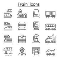 ícones de trem definidos em estilo de linha fina vetor