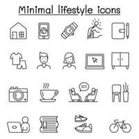 estilo de vida mínimo, ícones modernos definidos em estilo de linha fina