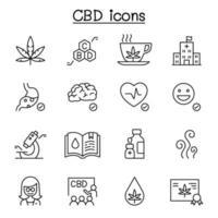 cbd, ícones de cannabis definidos em estilo de linha fina