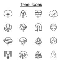 ícone de árvore definido em estilo de linha fina