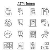ícones atm definidos em estilo de linha fina vetor