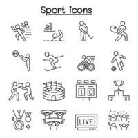 ícones do esporte em estilo de linha fina