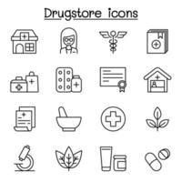 Ícone de linha de drogaria definido em estilo de linha fina