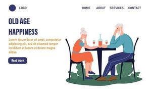 modelo de página de atividades para pessoas mais velhas. um casal de idosos sentado à mesa de um café. O conceito de velhice ativa. dia do idoso. ilustração vetorial plana