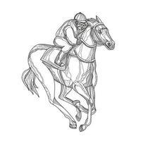 arte do doodle do jóquei em corridas de cavalos