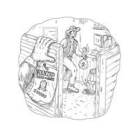 desenho de salão de roubo de cowboy