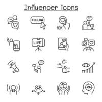 influenciar pessoas e ícone do embaixador da marca definido em estilo de linha fina vetor
