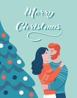 cartão de Natal. um casal se abraça ao lado de uma árvore de natal. letras de feliz natal. ilustração vetorial. banner, pôster, modelo. vetor
