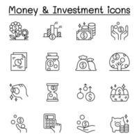 ícones de dinheiro e investimento definidos em estilo de linha fina vetor