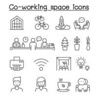 espaço de co-trabalho e ícones de inicialização definidos em estilo de linha fina
