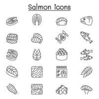 ícone de salmão definido em estilo de linha fina vetor