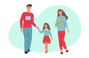 família com roupas de primavera. pai, mãe e filha caminhando no personagem park.a isolado em um fundo branco. ilustração em vetor plana dos desenhos animados.