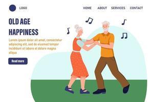 modelo de página de destino de felicidade na velhice. casal de idosos dancing.the conceito de velhice ativa. dia do idoso. ilustração vetorial plana vetor