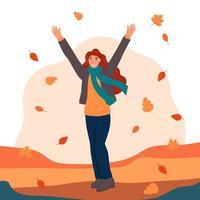 uma jovem no parque durante o outono vetor
