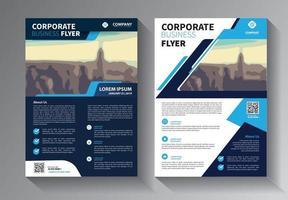 conjunto de modelos de negócios de panfleto azul