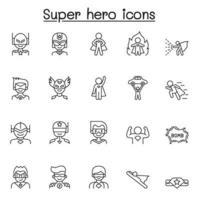 conjunto de ícones de linha de vetor relacionados a super-herói. contém ícones como máscara, traje, poder, ação, arma e muito mais.