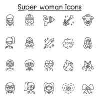 conjunto de ícones de linha do vetor relacionados super mulher. contém ícones como máscara, traje, poder, ação, arma, monstro, varinha, espada e muito mais.