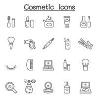 ícones cosméticos definidos em estilo de linha fina vetor