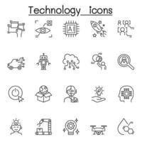 ícone de tecnologia definido em estilo de linha fina