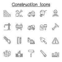 ícones de construção definidos em estilo de linha fina