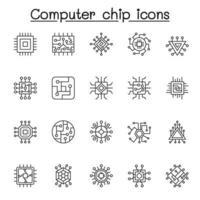 conjunto de ícones de linha do vetor relacionados ao chip de computador. contém ícones como circuito, placa-mãe, painel eletrônico, cpu, processador e muito mais